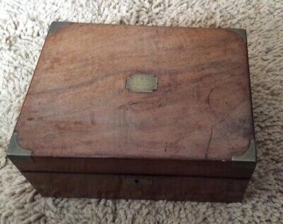 Antique Victorian brass bound writing slope. Inscribed.