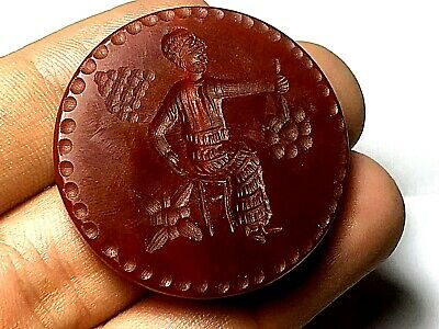 Antique Double Side Carnelian Intaglio Lady Cooking Man Holding Grape Bead