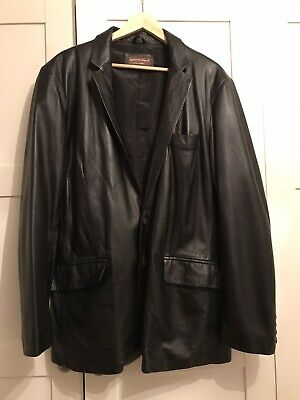Mens Classic Black Soft Real Leather Smart Jacket Blazer Suit 2 Button UK 42 XL