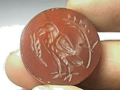 Antique Carnelian Stone Intaglio eagle flying bird  Bead