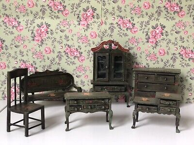 Hand Painted Wooden Dollhouse miniature furniture lot for Kids Room by Russ Co