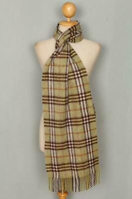 Genuine BURBERRY Green Check Lambswool Scarf