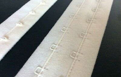 Continuous Hook & Eye Tape/ Closure. 2 Rows of Eyes. 45mm Wide. Ivory Colour
