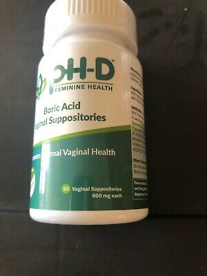 pH-D Feminine Health Support, Boric Acid Vaginal Suppositories, Bottle of 24