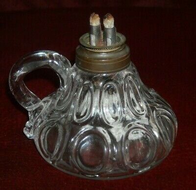 """Antique Whale Oil Finger Lamp W/ Applied Handle Double Burner 3 1/4"""" Tall"""
