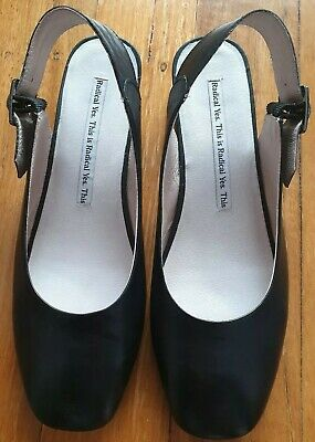 Radical Yes slingback black leather ladies shoes small block heel size 40