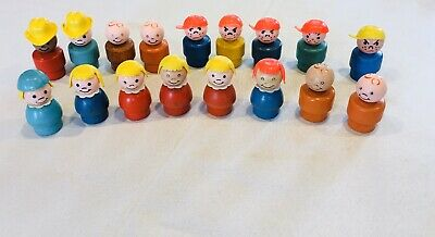 Lot of 17 Vintage Fisher Price Little People Wooden Body Plastic Head