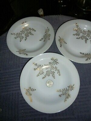 3 Vintage Golden Glory Flanged Rimmed Soup Bowls Federal Glass Excellent Conditi
