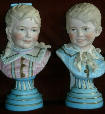 "Antique Vintage 10"" Pair Porcelain Bisque Victorian Boy Girl Bust French ?"