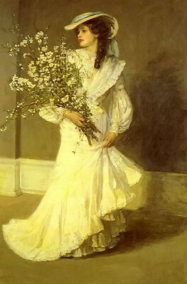 Art Oil painting beautiful young lady in white dress with spring flowers canvas