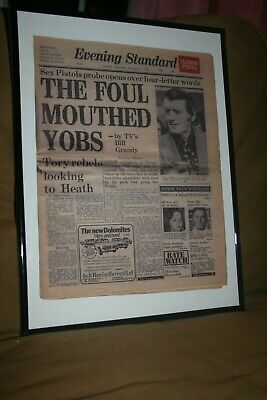 Sex Pistols framed Evening Standard Foul Mouthed Yobs punk rock poster