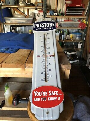 Old Porcelain Prestone Anti-Freeze Lg Thermometer