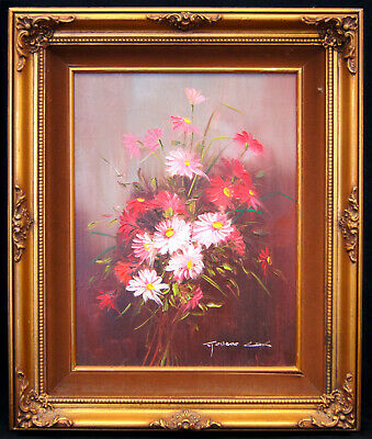 """Robert Cox """"Daisies In Pink"""" Original Signed Framed Oil on Canvas Painting B0567"""