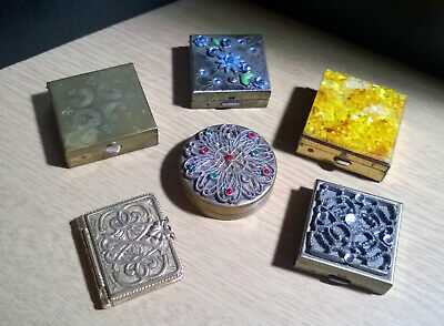 LOT of 6 - Vintage Metal Compacts - Powder - Perfume - Trinket - Pill Box