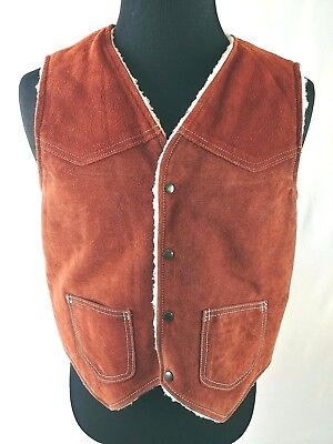 Western Suede Vest Faux Shearling Lined Sherpa Pockets Snaps Medium