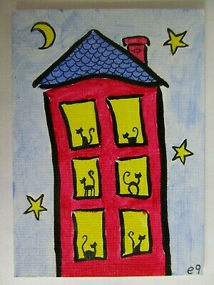 ACEO Original Acrylic Painting Cat House Black Cats Outsider Folk Art by e9Art