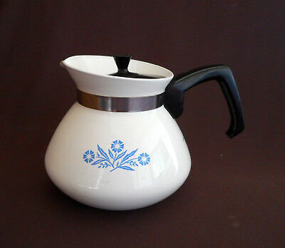 CORNING WARE Vintage CORNFLOWER BLUE 6 Cups TEAPOT with Black Lid