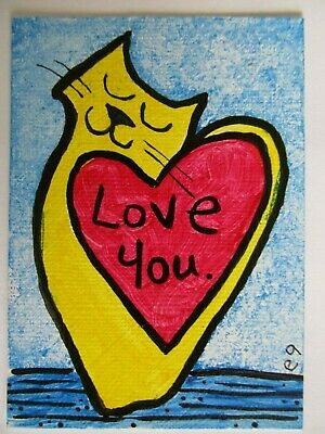 ACEO Original Acrylic Painting Cat Kitty Love You Heart Outsider Folk Art e9Art