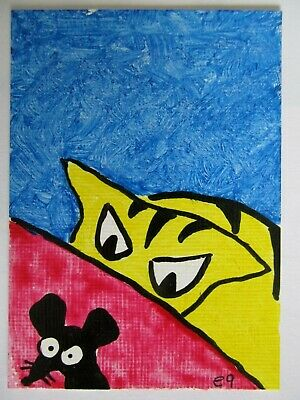 ACEO Original Acrylic Painting Cat Watching Mouse Outsider Folk Art by e9Art
