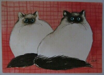 ACEO Original Watercolor Painting Cats Sealpoint Himalayan Kitties Denise Every