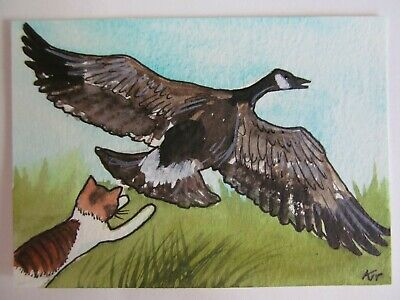ACEO Original Watercolor Ink Cat Tiger Stripe Canadian Canada Goose Kit Lundwall