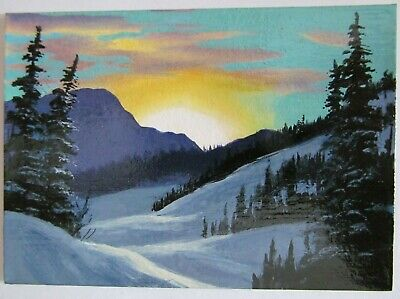 ACEO Original Acrylic Painting Landscape Sunrise Winter Miniature Art by CM USA