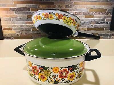 """VINTAGE FLORAL ENAMELWARE DUTCH OVEN & 10"""" FRY PAN 3 PC LOT 1970s NEW BRIGHT"""