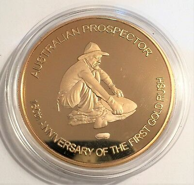Gold Prospector, 1 troy Oz Coin, 999 24 k Gold Plated, Gold Rush, Gold Nugget