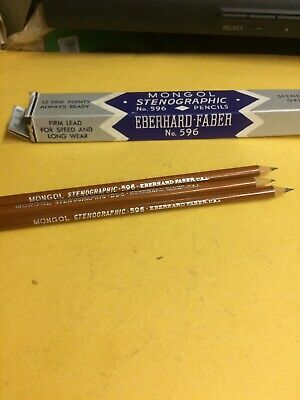 MONGOL Stenographic No. 596 Pencils. Made in USA. Box of 3