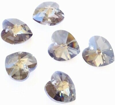 14mm Authentic Genuine Czech Preciosa Crystal Heart Heliotrope Pendant Beads