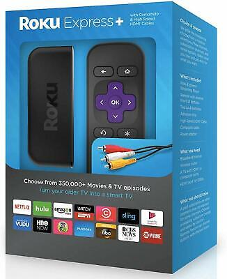 Roku Express + PLUS HD Digital Streaming Media Player 3910RW HDMI Cable Smart TV