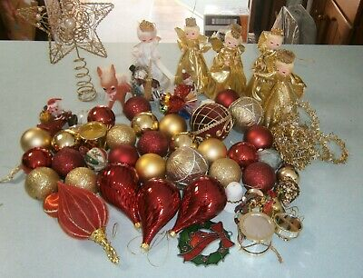 Bulk Vintage retro & newer Christmas tree decorations - baubles, bells, angels +