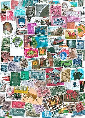 Worldwide 100 different medium large commemorative stamps off paper mint & used