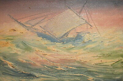 Expressionist oil painting seascape ship signed