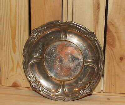 Antique ornate silver plated brass dish bowl