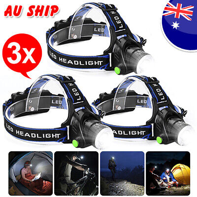 3X LED Headlamp Rechargeable Head Torch Flashlight Zoomable CREE 21000LM XML T6