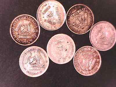 SOUTH AFRICA THREE PENCE SILVER  x 7 coins