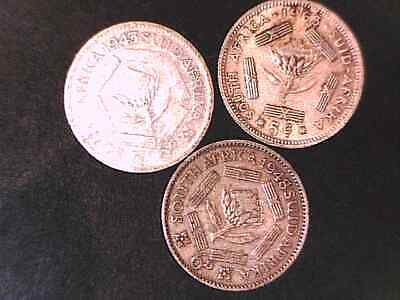 SOUTH AFRICA SIX PENCE and five cent SILVER  x 3 coins