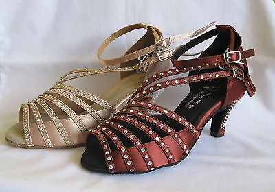 Ladies Tan / Wine Ballroom, Latin, Salsa, Jive Dance Shoes - UK Sizes 3 - 7