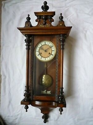 Antique Vienna Wall Clock With Key & Pendulum