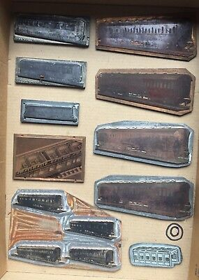 VINTAGE 1950s ON MECCANO HORNBY PRINTING BLOCKS PLATES COACHES + ENGINE SHED(10)