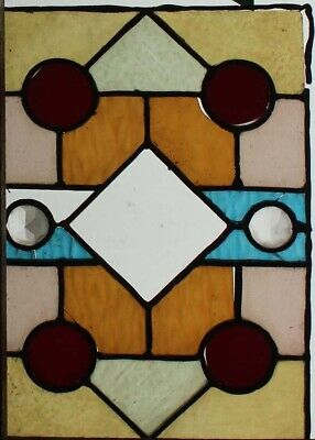 Victorian Stained Glass Window With Two Beautiful Multi Faceted Jewels