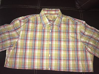 Mens Jos A Bank Green Blue Pink Madras Plaid Cotton Tencel shirt size L