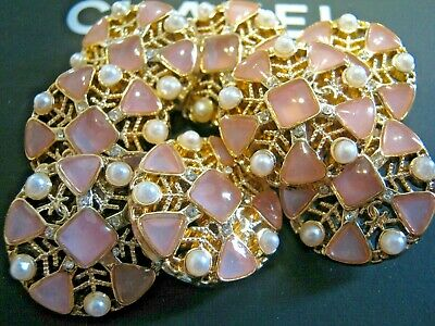 CHANEL  8 AUTHENTIC PINK PEARLS GOLD cc 21 MM BUTTONS THIS IS FOR EIGHT
