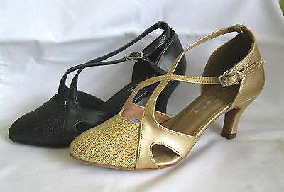 Ladies Black, Gold Ballroom, Latin, Salsa, Jive Dance Shoes - UK sizes 3 - 8