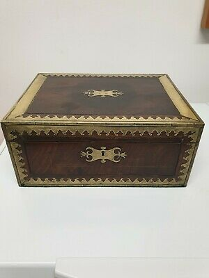 Antique Regency Early 19th century Box With Inlaid Brass C1815