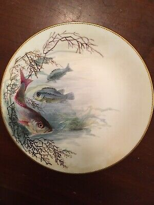 """Rare Minton's for Tiffany & Co. """"Red Bass"""" Plate Signed By William Mussill"""