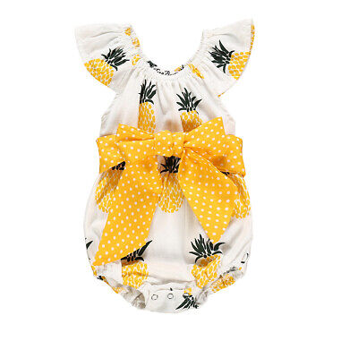 Newborn Baby Girl Flower Ruffle Romper Bodysuit Jumpsuit Outfits Sunsuit 0-24M