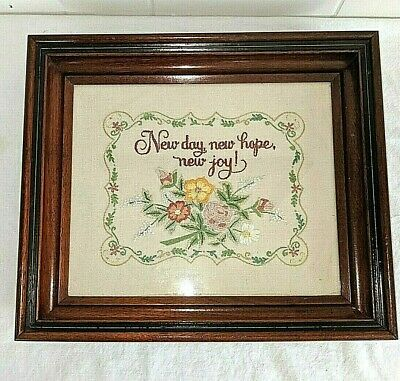 Antique Floral Embroidery Needlepoint Walnut Frame Victorian New Day Hope Joy!