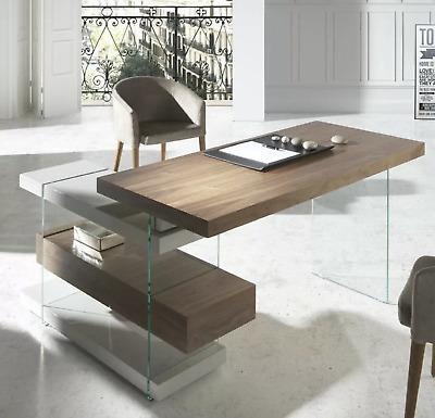 Large Office Desk Contemporary Executive Table Computer PC Furniture Wood Glass